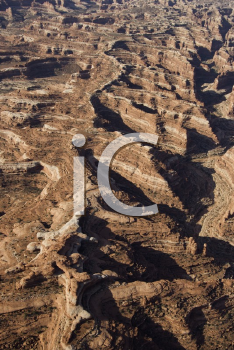Royalty Free Photo of an Aerial of a Canyon in Canyonlands National Park in Utah, USA