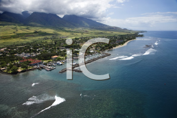Royalty Free Photo of an Aerial View of Buildings and a Marina on a Coastline of Maui, Hawaii