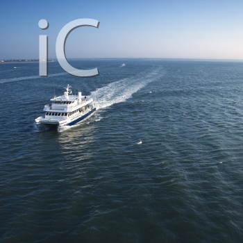 Royalty Free Photo of an Aerial View of a Passenger Ferry Boat Bear Bald Head Island, North Carolina