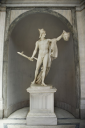 Royalty Free Photo of a Sculpture of Perseus Holding the Head of the Gorgon Medusa in Vatican Museum in Rome Italy
