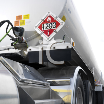 Royalty Free Photo of a Fuel Truck With a Flammable Sign