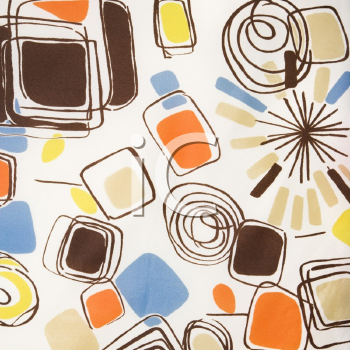 Royalty Free Photo of a Close-Up of a Vintage Fabric With Abstract Shapes and Swirls Printed on Polyester