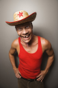 Royalty Free Photo of a Man Wearing a Straw Hat
