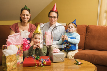 Royalty Free Photo of a Family Celebrating a Birthday Party