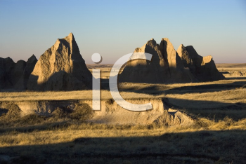 Royalty Free Photo of a Landscape in Badlands National Park, South Dakota