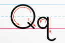 Royalty Free Photo of a Close-up of the Letter Q Handwriting Practice Page