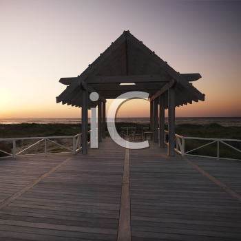Royalty Free Photo of a Gazebo at North Carolina Coast at Sunset