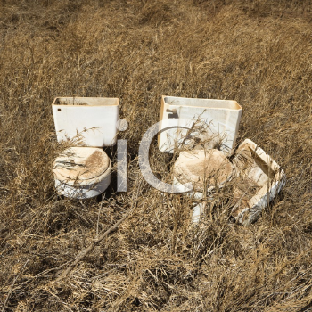 Royalty Free Photo of Old Toilets That Were Dumped in a Field