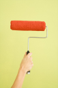 Royalty Free Photo of a Female Hand Holding a Paint Roller Dipped in Red Paint
