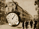 Royalty Free Video of an Old City Scene and a Swinging Clock
