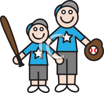 Royalty Free Clipart Image of a Father and Son with Baseball Equipment