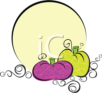 Royalty Free Clipart Image of Pumpkins