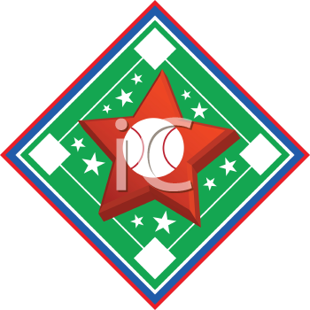 Royalty Free Clipart Image of a Star on a Baseball Diamond