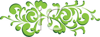Royalty Free Clipart Image of a Green Swirl Banner