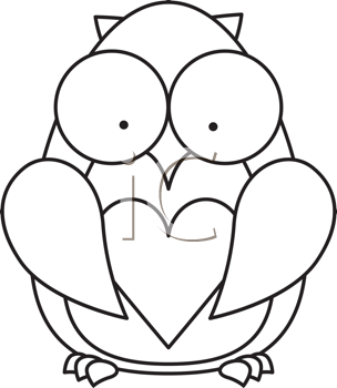 Royalty Free Clipart Image of an Owl With a Heart