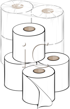 Royalty Free Clipart Image of Toilet Papers