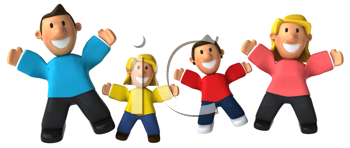 Royalty Free Clipart Image of a Family Jumping