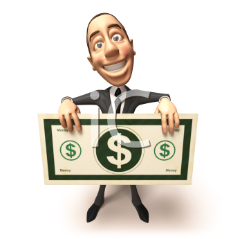Royalty Free 3d Clipart Image of a Businessman Holding a Large Dollar Bill