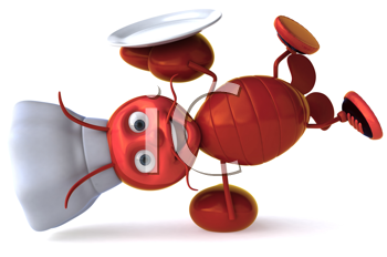 Royalty Free Clipart Image of a Lobster Chef Doing a Handspring