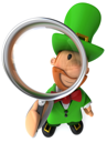 Royalty Free Clipart Image of a Leprechaun With a Magnifying Glass