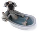 Royalty Free Clipart Image of a Dog in a Tub