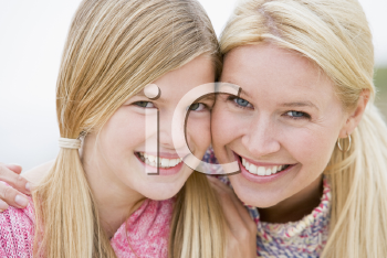 Royalty Free Photo of a Mother and Daughter at the Beach