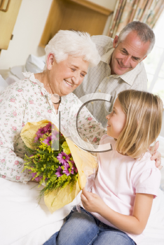 Royalty Free Photo of a Granddaughter Giving Her Grandma Flowers in the Hospital