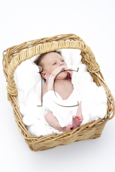 Royalty Free Photo of a Baby in a Wicker Basket