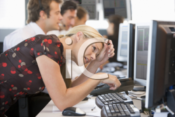 Royalty Free Photo of a Stock Trader Looking Frustrated