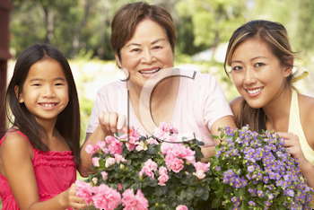 Royalty Free Photo of Three Generations of Women With Flowers