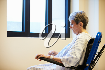 Senior Female Patient Sitting Alone In Wheelchair