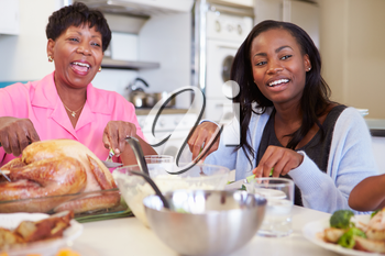 Mother And Adult Daughter Having Family Meal At Table