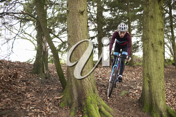 Cross-country cyclist riding between trees, front view