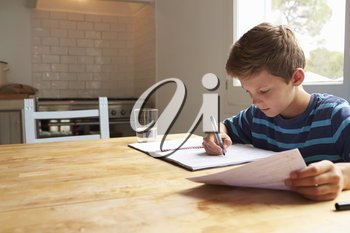 Boy Doing Homework Sitting At Kitchen Table