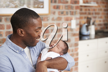 Father At Home Sitting And Holding Newborn Baby Son
