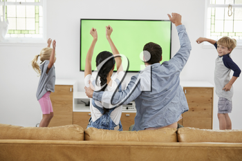 Family Watching Sports On Television And Cheering