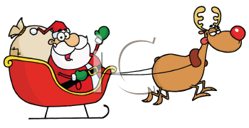Royalty Free Clipart Image of Santa's Sleigh and Rudolph