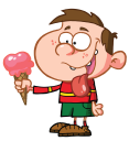 Royalty Free Clipart Image of a Boy With an Ice Cream Cone