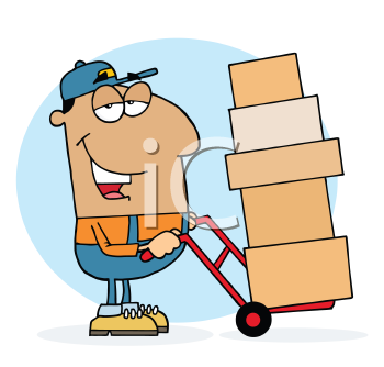 Royalty Free Clipart Image of a Man With Cartons on a Dolly