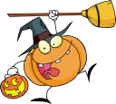 Royalty Free Clipart Image of a Pumpkin Wearing a Witch's Hat Holding a Broomstick