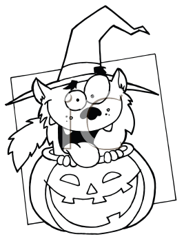 Royalty Free Clipart Image of a Werewolf in a Pumpkin