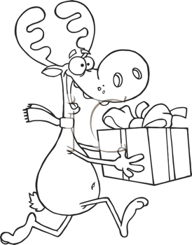 Royalty Free Clipart Image of a Reindeer Running With a Present