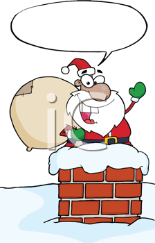 Royalty Free Clipart Image of an African American Santa in a Chimney With a Speech Bubble