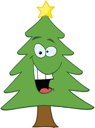 Royalty Free Clipart Image of an Evergreen With a Star on Top