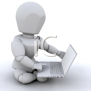 Royalty Free Clipart Image of a 3D Figure With a Laptop