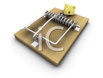 Royalty Free Clipart Image of a Mousetrap With Cheese