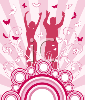 Silhouettes of people dancing on retro background