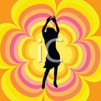 Silhouette of a female dancing on a retro background