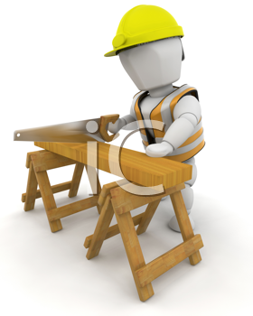 3D Render of a man sawing wood