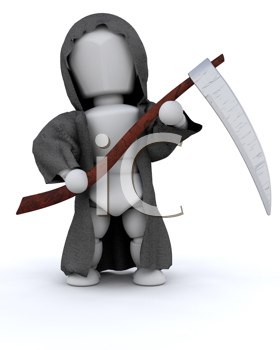 3D render of man in halloween party reaper outfit